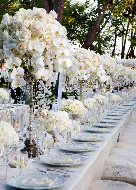Decoración color plata para boda, combinalo con el lazo de boda oval silver