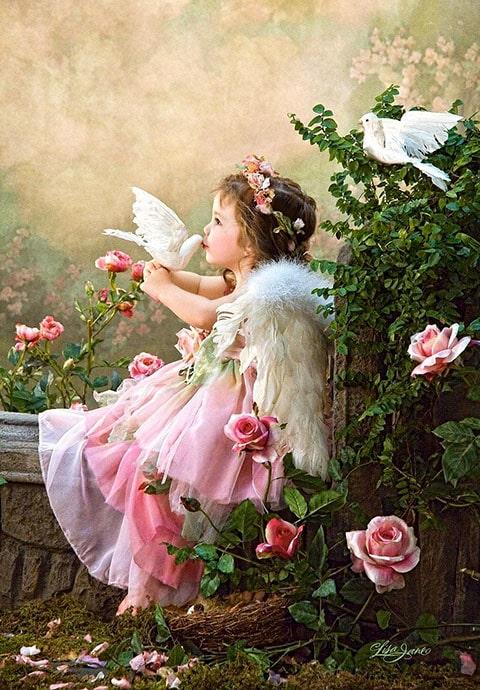 Llaverito de niña ángel con tarjeta con flores, LLavero en forma de ángel rosa, tarjeta para bautizo y baby shower