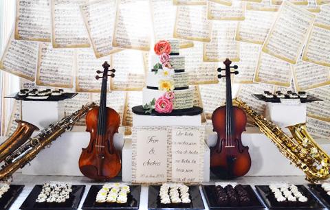 Llavero de nota musical color dorado, recuerdo para bodas