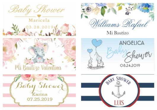 catalogo de etiquetas de bautizo y baby shower
