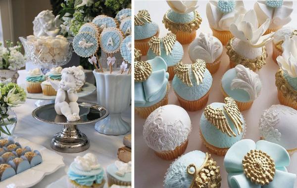 collage adornos para mesa de postres de ángel y cupcakes