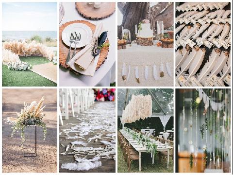 Ideas para boda inspirada en plumas
