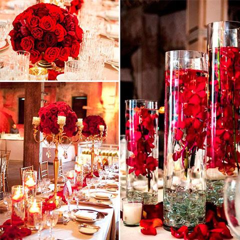 adornos para boda rojos
