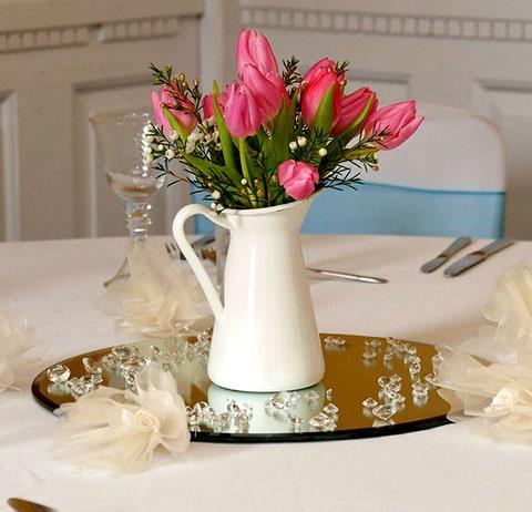 Lazo para boda con cuentas en forma de corazón de cerámica, combina con tu centro de mesa de cerámica