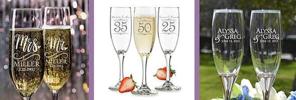 Variedad de copas de boda personalizadas con grabados