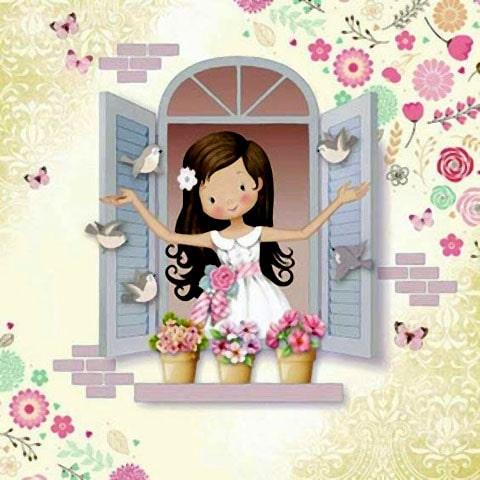 llavero de niña rezando dentro de una ventana, recuerdo para primera comunión