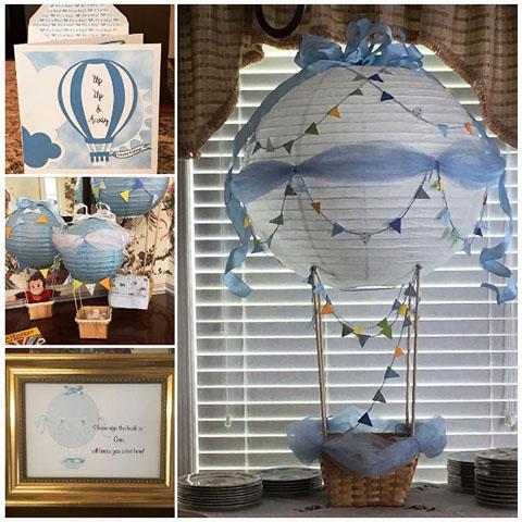 decoración bautizo globos aerostáticos