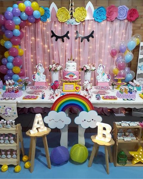 fiesta para bautizo o baby shower con tématica de unicornio