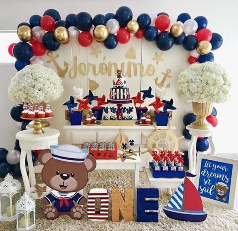 mesa de dulces para baby shower con temática de marinerito