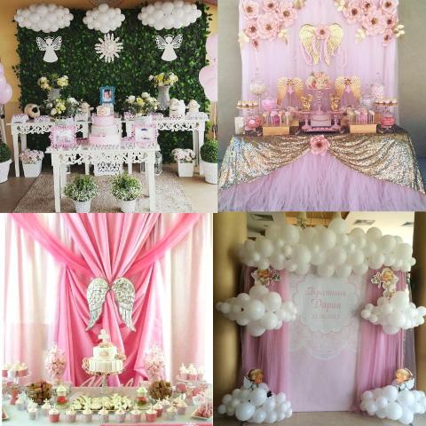 decoraciones y mesa de dulces de baby shower y bautizo con temática de angelitos