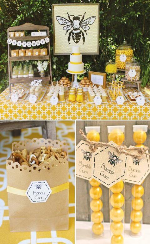 mesa de dulces y postres con tematica de abejita para baby shower o bautizo