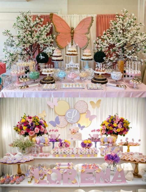 ideas de mesas de dulces con temática de mariposa para baby shower o bautizo