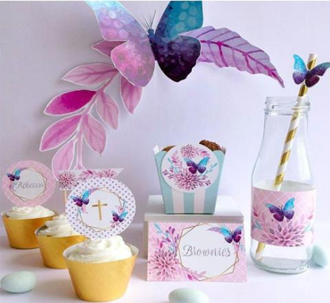 decoracion y mesa de dulces para bautizo o baby shower con tematica de mariposas