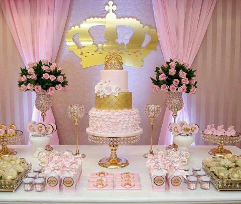 mesa de dulces con tematica de princesa para xv años o bautizo