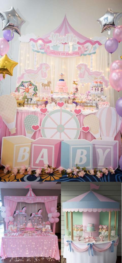 mesas de dulces para baby shower con temática de carrusel