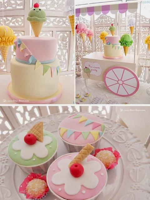 ideas de postres para mesa de dulces con temática de heladito