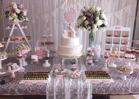 decoración primera comunión rosa