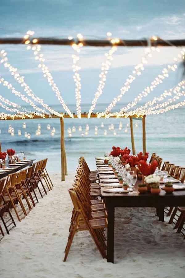 decoración para una boda de playa