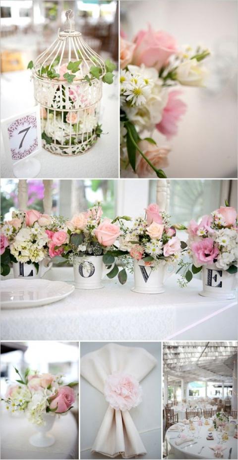 centros de mesa on temática de rosas o floral