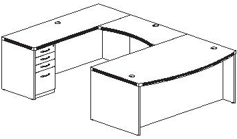 U Shape Desk Plan