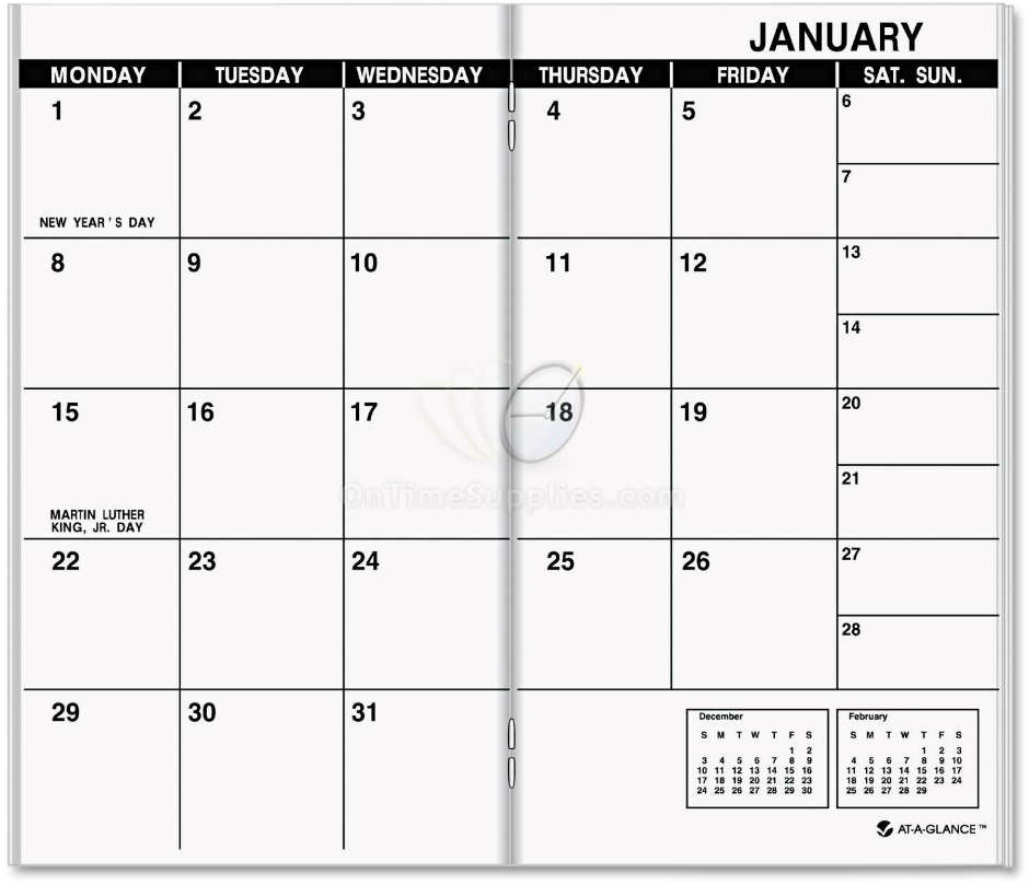 AAG7090610 Monthly Calendar Planner Refill by AT-A-GLANCE ...