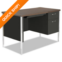 Alera® Single Pedestal Steel Desk