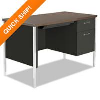 Alera® Single Pedestal Steel Desk