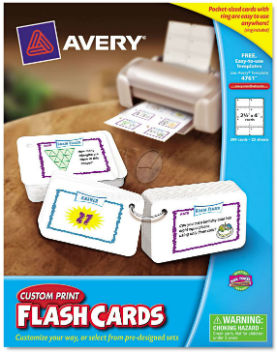 Printable Flash Cards, Hole Punched by Avery