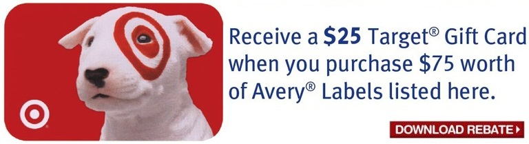Free $25 Target Gift Card with $75 Avery Labels Purchase
