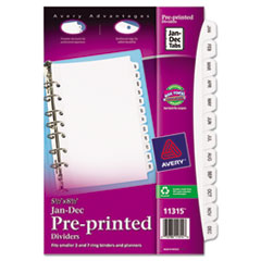 Avery® Preprinted Tab Dividers with Black and White Tabs