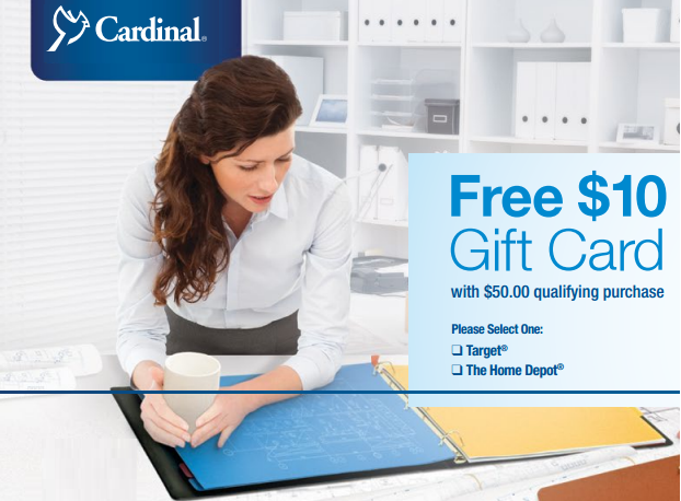 Order Cardinal Office Supplies & get a FREE Home Depot or Target Gift Card with mail in rebate.