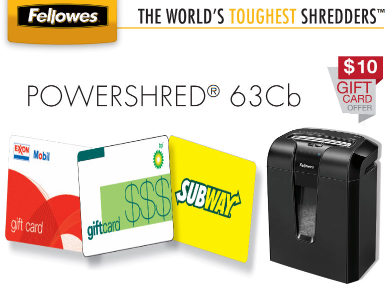 Fellowes POWERSHRED® 63Cb Mail in Rebate