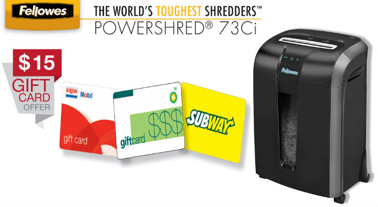 Fellowes POWERSHRED® 73Ci Mail in Rebate