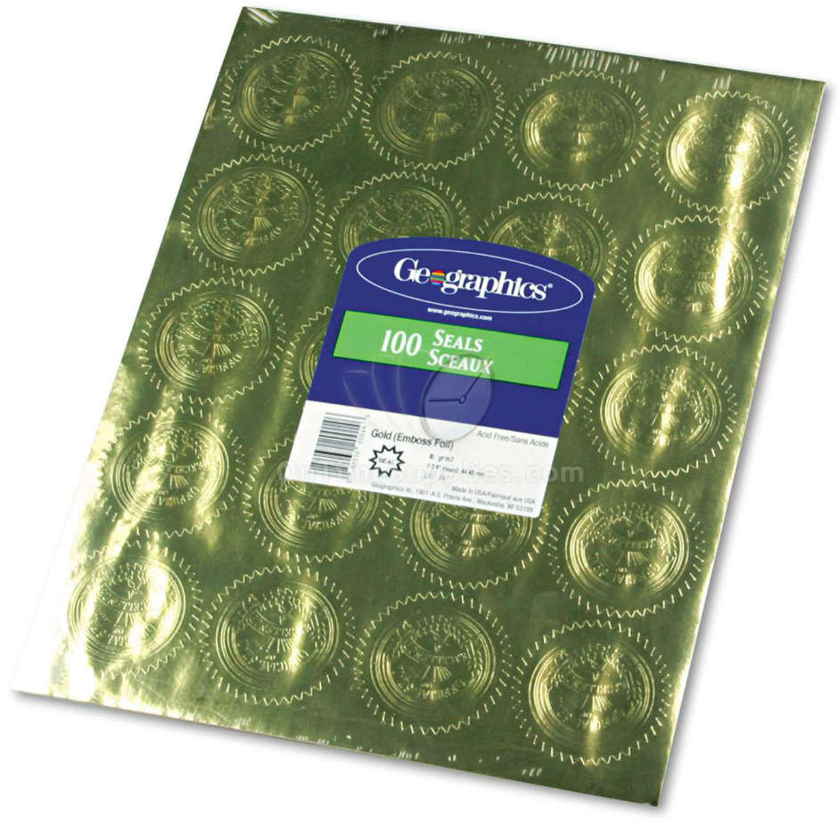 "GEO20014 Gold Foil Embossed ""Official Seal of Excellence"" Seals by Geographics®"