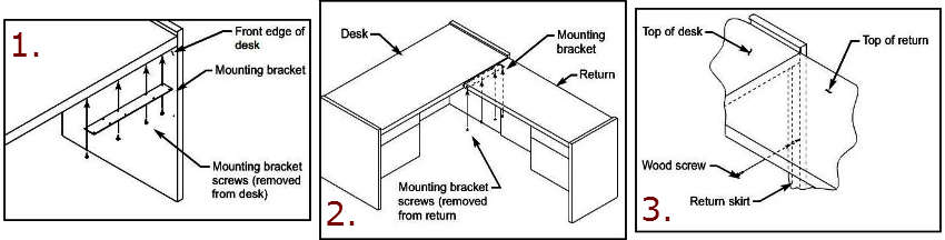 "HON® 10700 Series ""L"" Workstation Desk Return Instructions Illustrations"