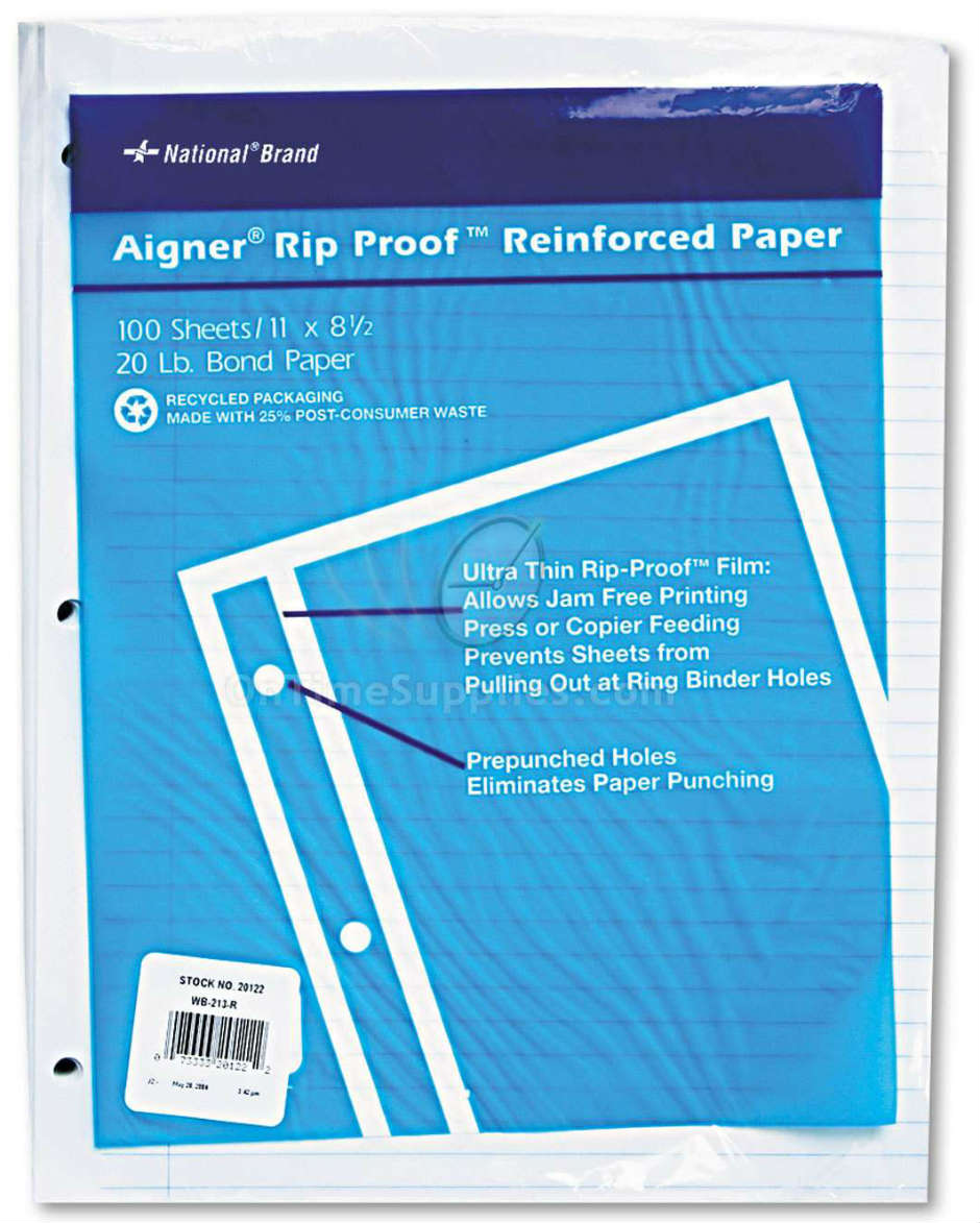 RED20122 Rip Proof 20-lb.College Ruled Reinforced Filler Paper by National® Brand