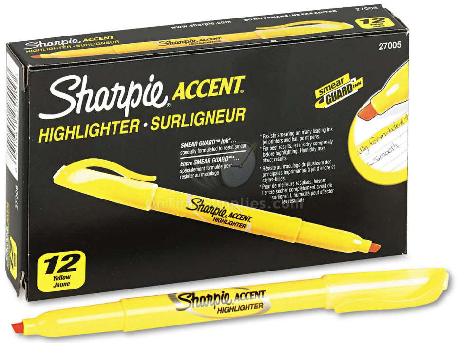 SAN27005 Accent Pocket Style Yellow Highlighter by Sharpie