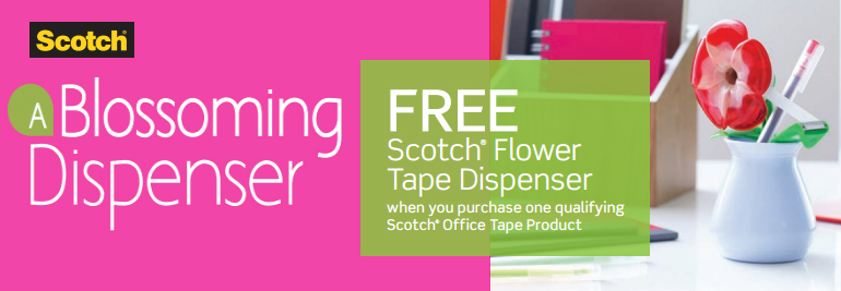 Free Flower Tape Dispenser when you buy Scotch Tape