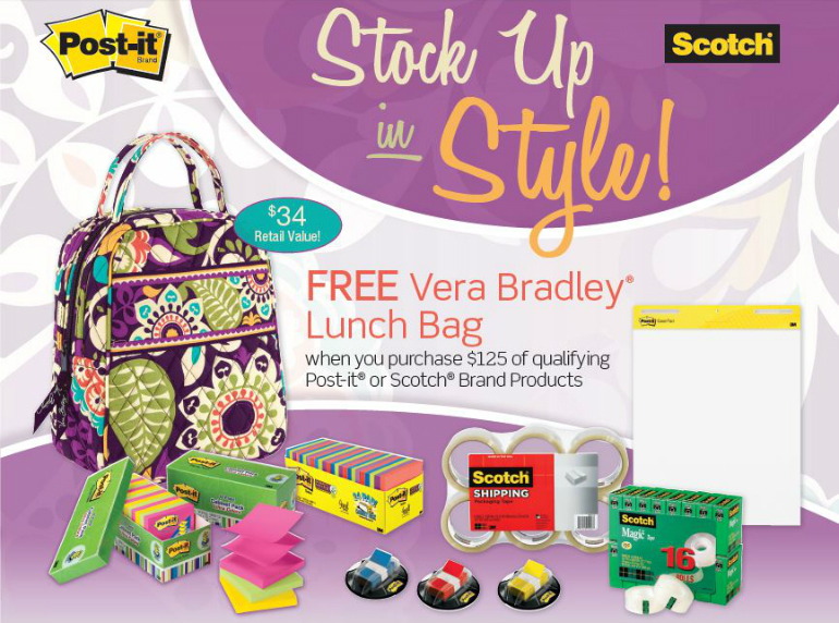 Free Vera Bradley Lunch Bag With Scotch Post It Mail In Rebate