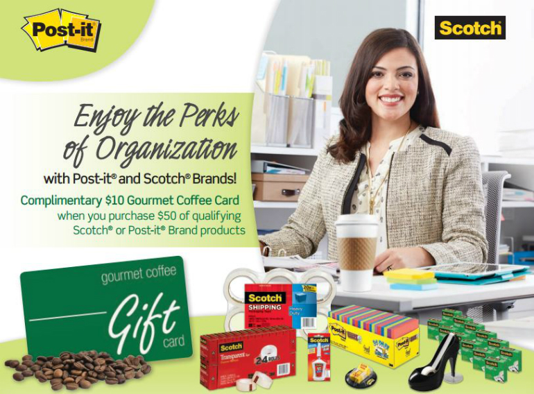 FREE Gourmet Coffee Card with qualifying Scotch and Post it Products.