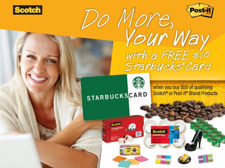 Get a FREE Starbucks Card with Scotch Tape & Post it Note Mail in Rebate