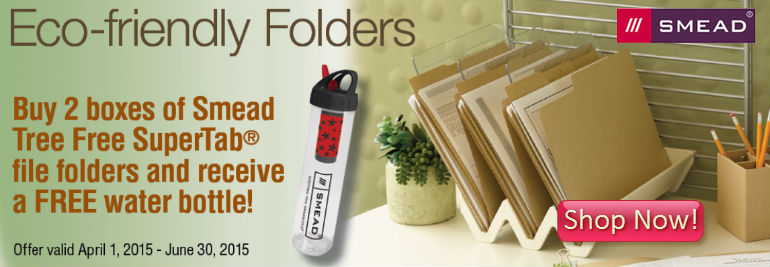 FREE Water Bottle w/ Eco-Friendly Smead Folders