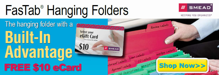 FREE $10 eCard w/ Smead FasTab Hanging Files Mail in Rebate