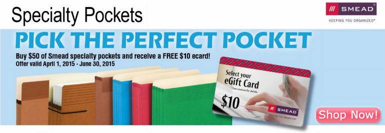 Free $10 Gift Card w/ Smead File Pockets Mail in Rebate