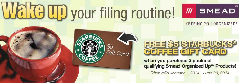 Smead Folders Mail in Rebate -- Free Starbucks Coffee Gift Card