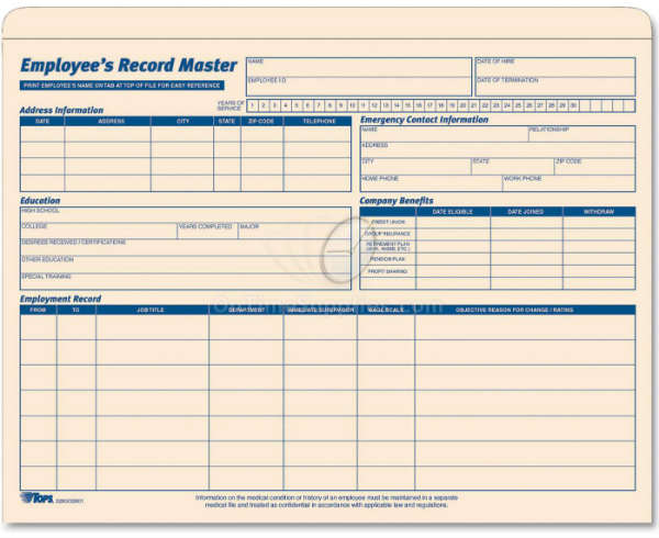 TOPS® Employee Record Master File Jacket