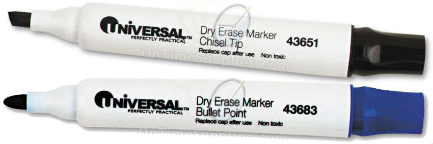 Universal® Dry Erase Markers with Bullet and Chisel Tips