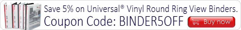 Save 5% on Unviersal Round Ring View Binders