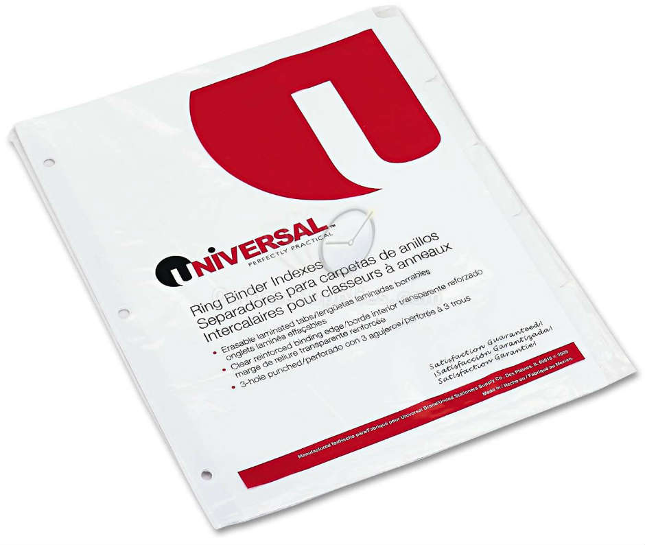 UNV20815  Write-On/Erasable Indexes w/White Tabs by Universal®