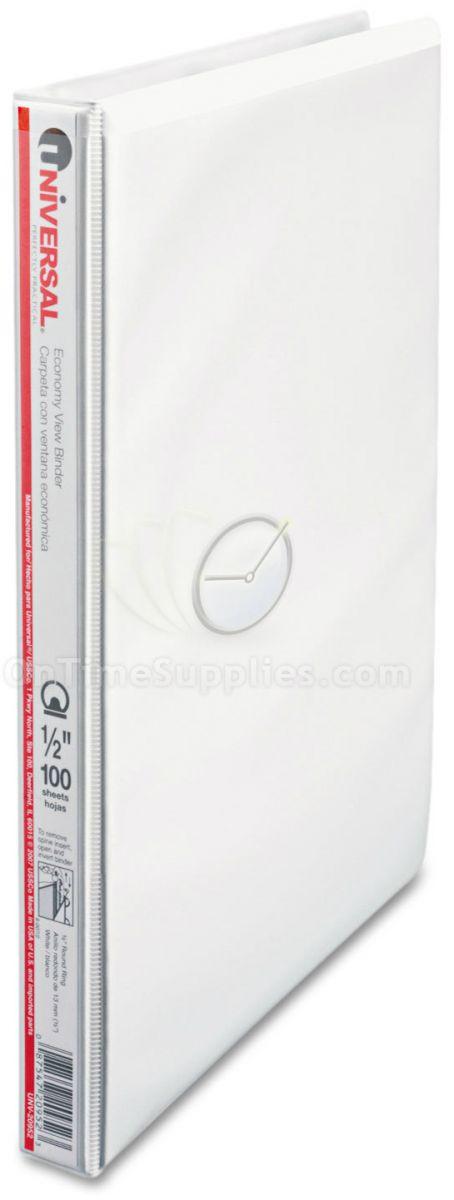 "UNV20952 Round Ring Economy Vinyl View Binder, 1/2"" Capacity, White"